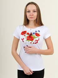 Женская футболка - вышиванка Волшебство,короткий рукав, р.42,44,46,48,50, белая