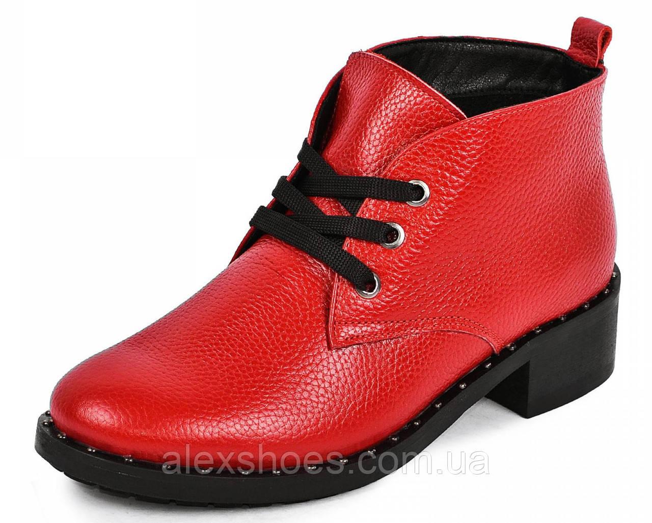 Ботинки женские демисезонные из натуральной кожи на низком каблуке от производителя модель МАК2070