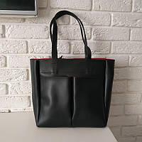 "Женская повседневная сумка-шоппер ""Аурика Black / Red"", фото 1"