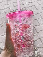 Стакан с трубочкой Розовый фламинго, фото 1