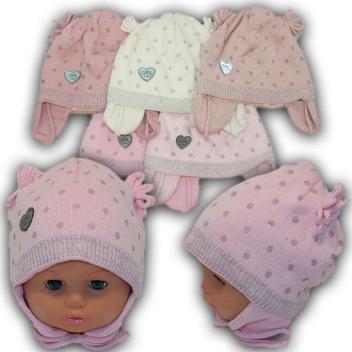 ОПТ Детские шапки на завязках с трикотажной подкладкой, р. 44-46 (5шт/упаковка)