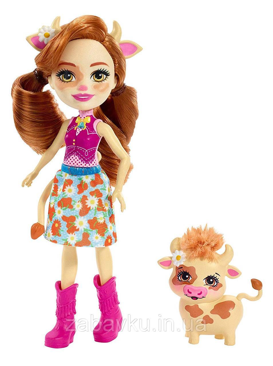 Enchantimals Cailey Cow Doll & Curdle Figure Лялька енчантімалс коровка Кай