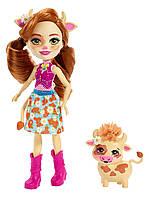 Enchantimals Cailey Cow Doll & Curdle Figure Лялька енчантімалс коровка Кай, фото 1