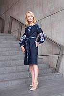 Льняное вышитое платье женское цвет синий с поясом
