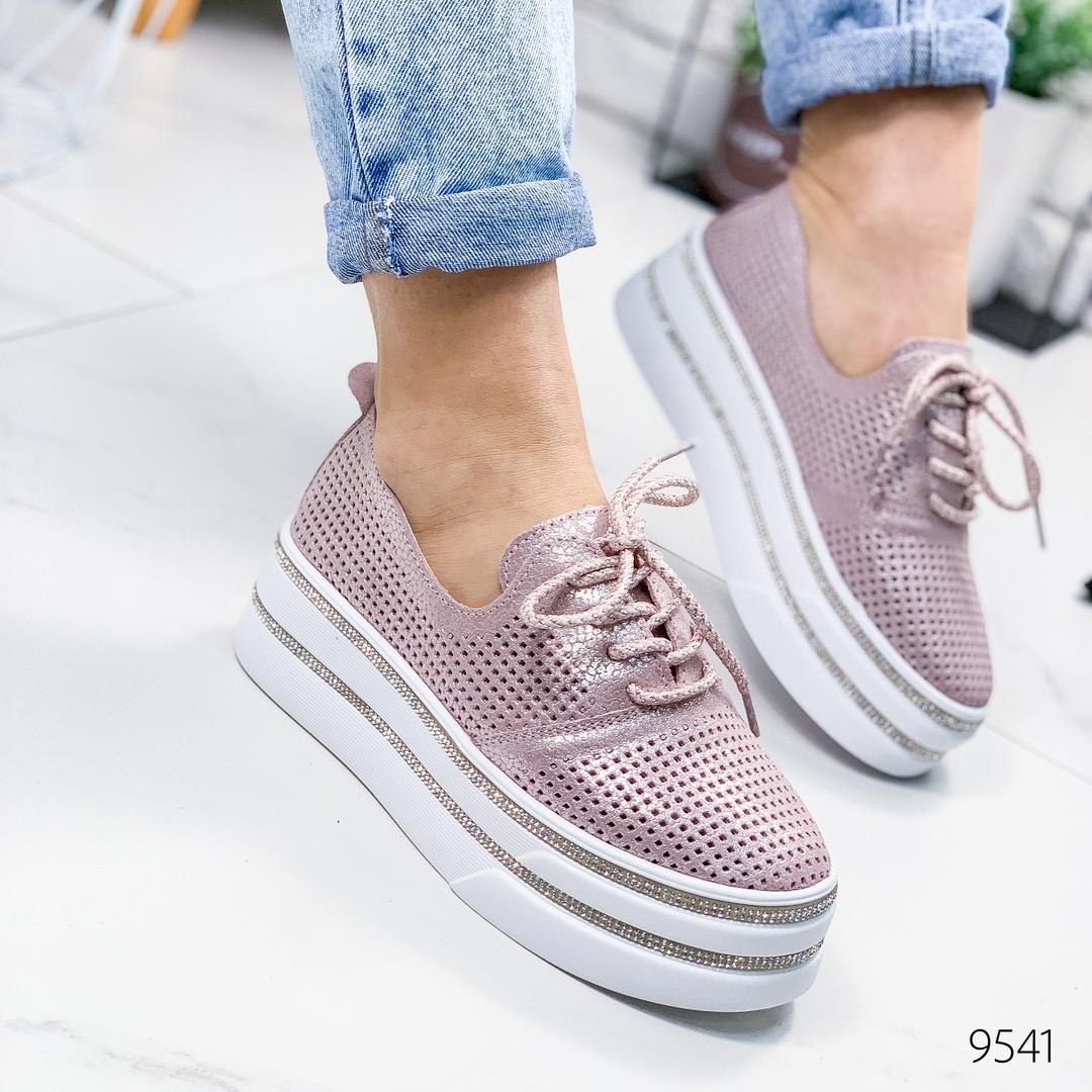 Слипоны женские  туфли кожаные пудра на платформе с перфорацией