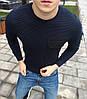 Свитер мужской свитшот весенний осенний стильный c карманом темно-синий без логотипа