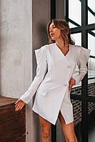 Платье-жакет женское короткое из трикотажа на пуговицах (К29674), фото 1