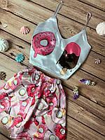 Женская шелковая пижама с принтом Мороженое и Пончик, сексуальная домашняя одежда