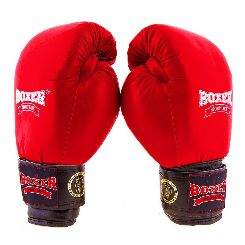 Боксерские перчатки Boxer Profi ФБУ, 12oz, красный красный, 12OZ