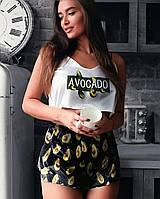 Женская шелковая пижама с принтом Авокадо, сексуальная домашняя одежда