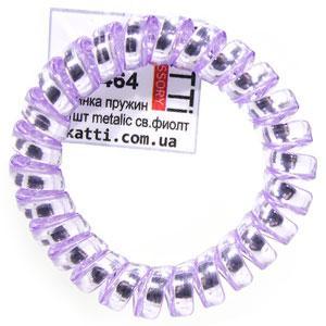 30464 резинка пружина для волос KATTi большая пластик Metalic светлая фиолет