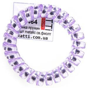 30464 резинка пружина для волос KATTi большая пластик Metalic светлая фиолет, фото 2