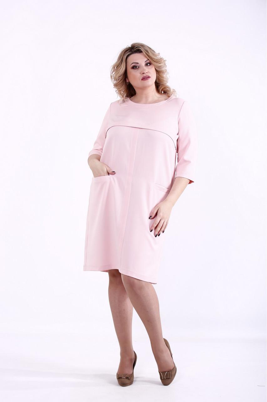 Пудровое просте плаття нарядне з костюмки великого розміру 42-74. 01375-3