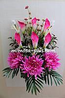 Искусственные цветы - Ритуальный букет хризантема, калла, колокольчик