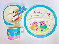 Набор бамбуковой посуды из 5 предметов Peppa Pig