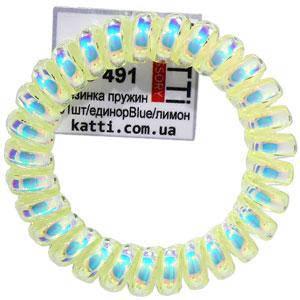 30491 резинка пружина для волос KATTi большая пластик Единорог Blue лимон, фото 2