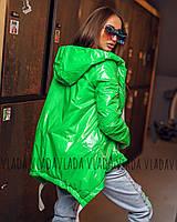Женская лаковая  куртка Moncler - демисезон батал