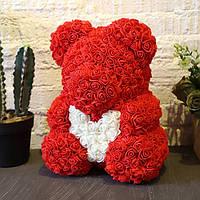 Мишка из роз Teddy Bear 40 см красный с белым сердцем, фото 1