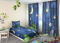 """Детские Фото Шторы """"Цветок под звездами"""" 2,5м*2,9м (2 полотна по 1,45м), тесьма"""