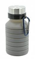 Складная силиконовая бутылка с карабином LUX Bottle (Grey), фото 1