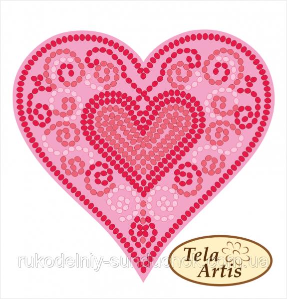 Схема для вышивки бисером нанесена на плотный бархатистый велюр Tela Artis Сердце узор-2 ВЛ-028
