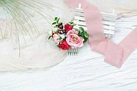 Гребень розово-красный с бутонами роз, фото 1