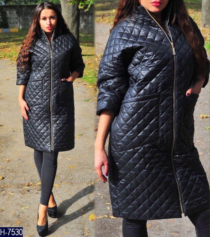 Пальто куртка стеганная женская весна осень, черный