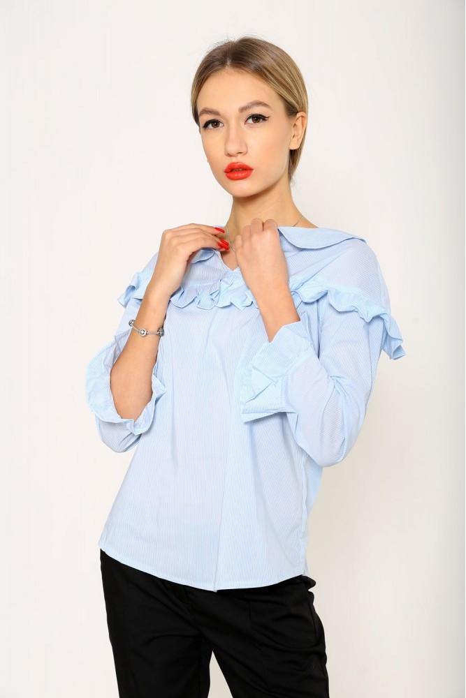 Блуза женская цвет Бело-голубой размер 40