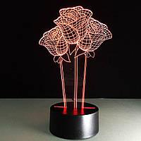 """3D Светильник  """"Розы"""", 1 светильник- 16 цветов света. Подарки на 14 февраля"""