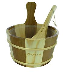 Набор Greus сосна/кедр (шайка 4 л + черпак) с пластиковой вставкой для бани и сауны