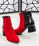 Демисезонные женские ботильоны из комбинированных материалов (красный/черный), фото 3