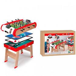 Деревянный полупрофессиональный стол Power Play 4 в 1 (футбол, теннис, бильярд, аэрохоккей), Smoby 8+ (640001)