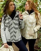 Женская демисезонная комбинированная куртка весна/осень больших размеров баталы (52,54,56,58,60,62,64,66,68)