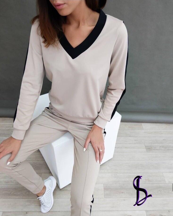 Спортивный костюм женский бежевый, хаки, 42-44, 46-48