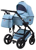 Универсальная детская коляска Bair Leo кожа 100% GN-71 голубой, фото 1