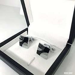 """Запонки """"Alex"""" Premium, сріблясті в коробочці з білим оксамитом."""
