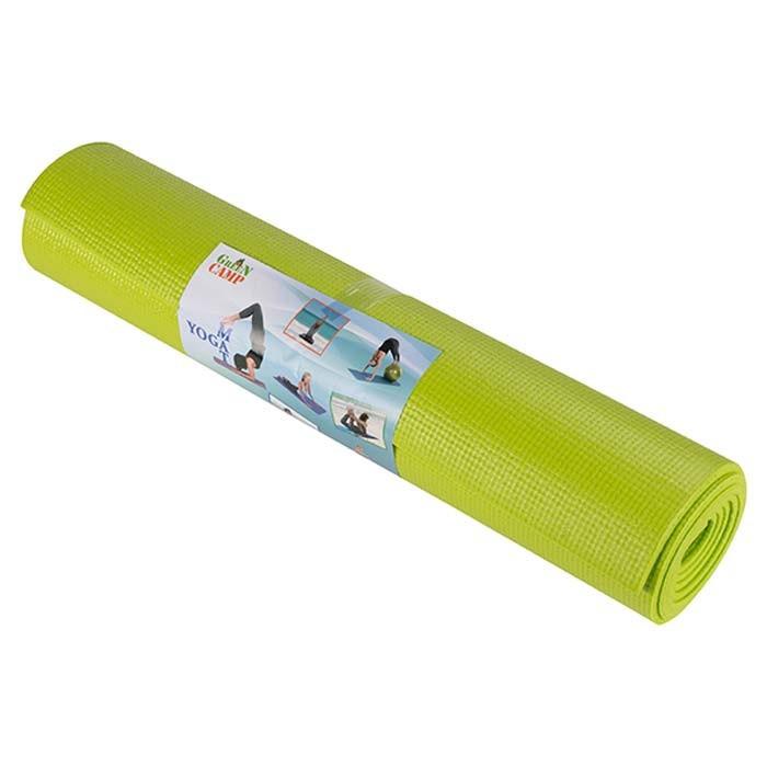 Йогамат, коврик для фитнеса, GreenCamp, 4мм, PVC, салатовый.