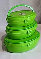Термо ланч-бокс. Контейнер для зберігання продуктів три секції для їжі з кришками.