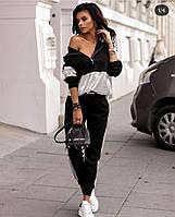 Модный женский прогулочный спортивный костюм-двойка кофта с капюшоном черный с серебром