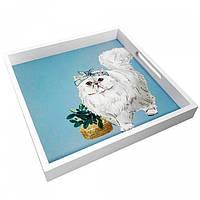 Деревянный поднос Котик, фото 1