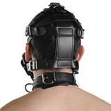 Черный кожаный намордник с прочными ремнями, фото 2