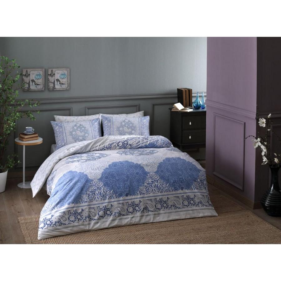 Постельное белье Tac ранфорс - Aryan mavi v01 голубой евро
