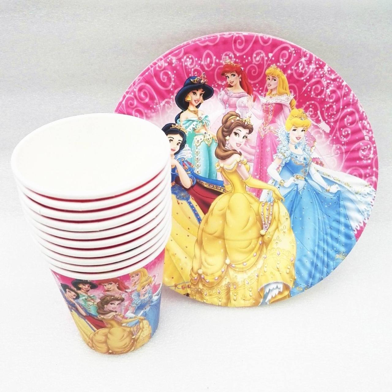"""Набор  для детского праздника  """"Принцессы Дисней """"10 тарелок , 10 стаканчиков"""