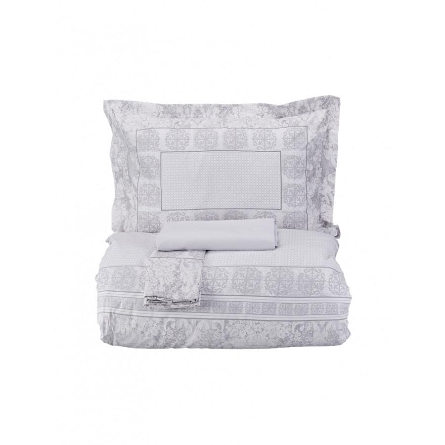 Постельное белье Karaca Home ранфорс - Quatre silver 2018-2 серый евро