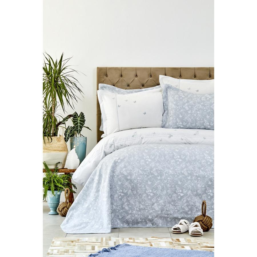 Набор постельное белье с покрывалом Karaca Home - Mariposa gri 2019-1 серый евро