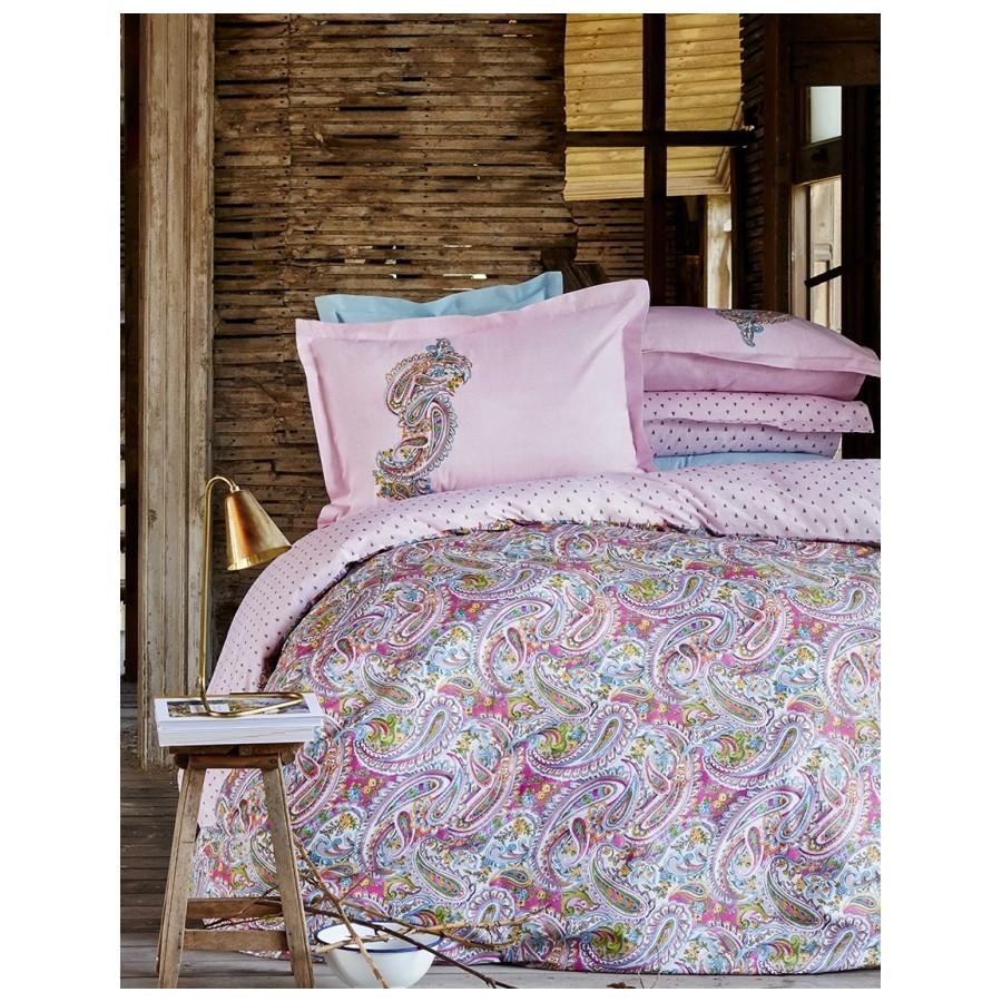 Постельное белье Karaca Home ранфорс - Denia pink 2017-1 розовый евро