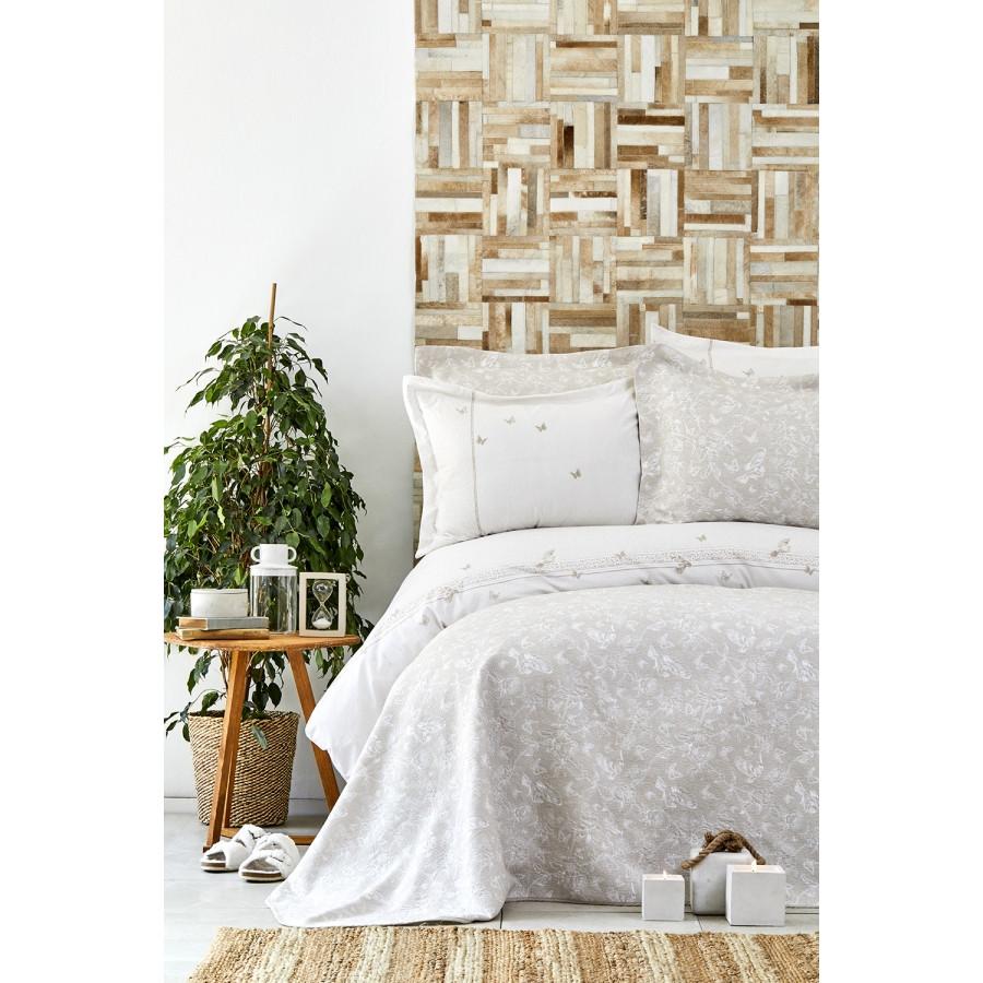 Набор постельное белье с покрывалом Karaca Home - Mariposa gold 2019-1 золотой евро