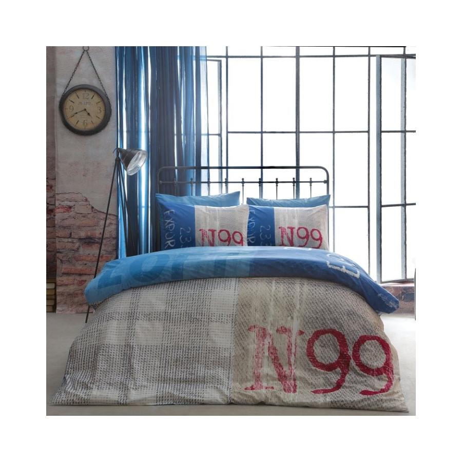 Постельное белье Tac ранфорс - Loft mavi голубой евро