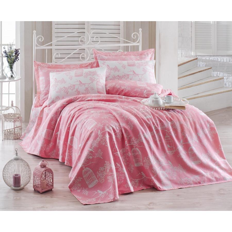Постельное белье Eponj Home Pike - Samyeli pembe розовый евро