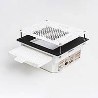 Встроенная вытяжка Teri Turbo пылесос для маникюрного стола с HEPA фильтром (белая нерж. сетка с узором)